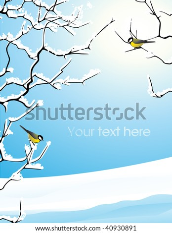 Trees brunches under the snow - stock vector