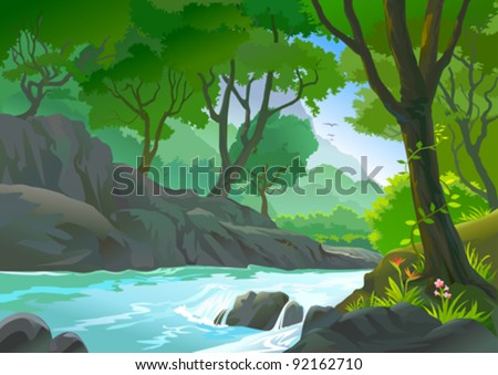 TREES BY RIVERSIDE HILLS AND ROCKS - stock vector