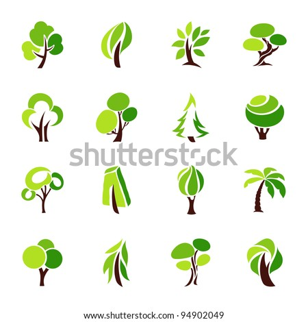Trees. Collection of design elements. Icons set. - stock vector
