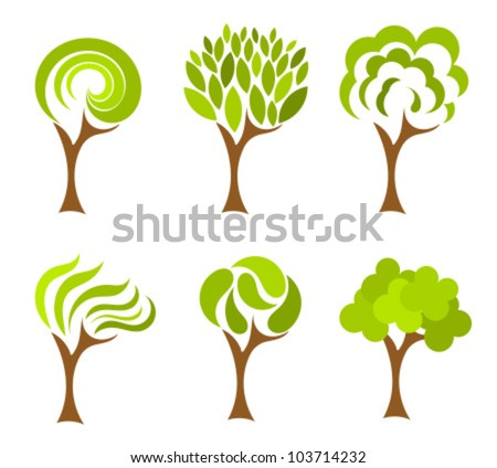 Trees collection. Vector illustration - stock vector