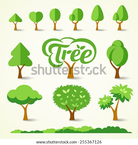 Trees collections set design, vector illustrations - stock vector