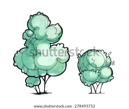 Trees for a landscape design. Watercolor sketch. - stock vector