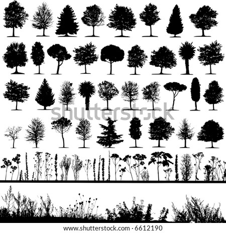Trees, grass, plant vector - stock vector