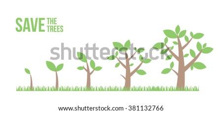 Grow Vector Growing Trees Stock Vector 359933123 Shutterstock