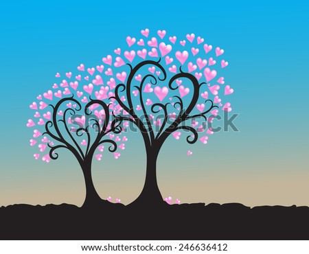 Trees hearts silhouette illustration on blue sky background - stock vector