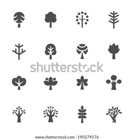 Trees icon set - stock vector