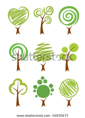 Trees Icon set - stock vector
