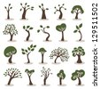 trees icons set - stock vector