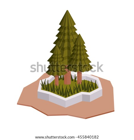 trees isometric  isolated icon design, vector illustration  graphic  - stock vector