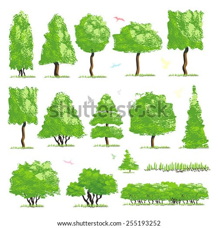 Trees item top view for landscape design, vector icon - stock vector