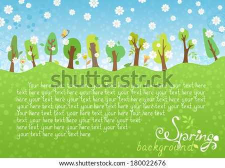 Trees, leaves, and flowers for your design. There are place for your text in the sky and on the Earth. - stock vector