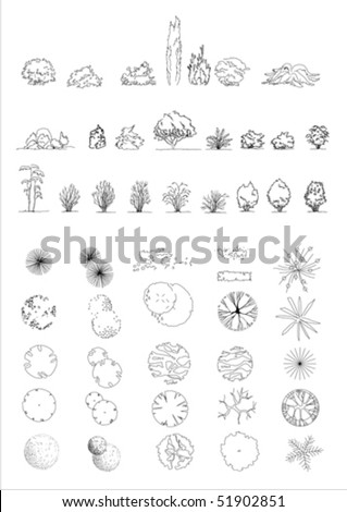 Trees linear drawings. Easy to export in dxf format for use in CAD applications - stock vector