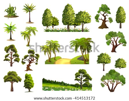 Trees, nature, forest, vector icons set - stock vector