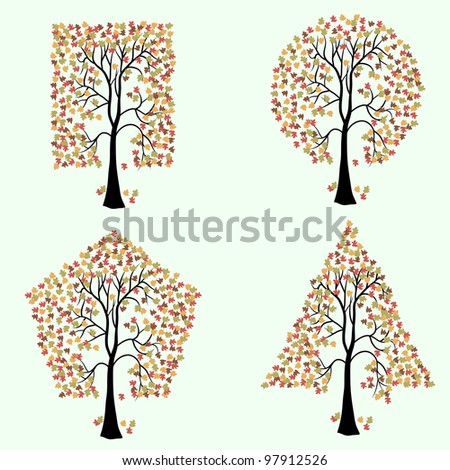 Trees of different geometric shapes. Vector set. Rasterized version also available in portfolio.