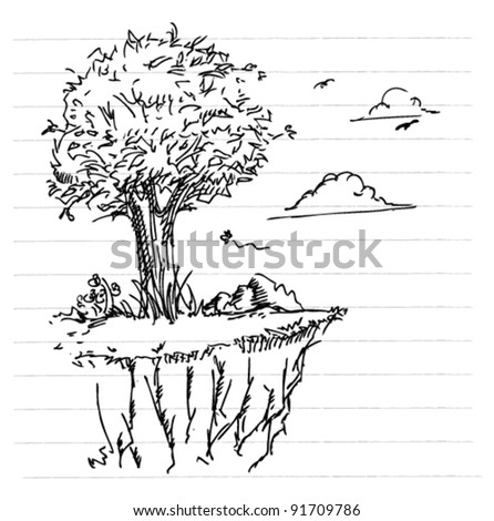 trees on the brink hand-draw sketch doodle illustration - stock vector