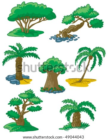 Trees set #3 (date palm, coconut palm, juniper, yew, elm, myrtle, box) - stock vector