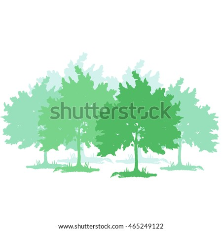 trees silhouettes isolated vector illustration