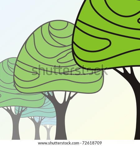 trees stretching into the distance with space for your text - stock vector