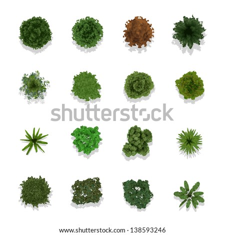 Trees top view for landscape vector illustration - stock vector