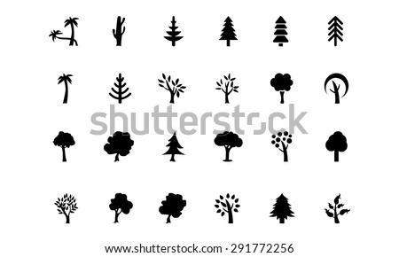 Trees Vector Icons - stock vector