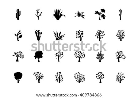 Trees Vector Icons 4 - stock vector