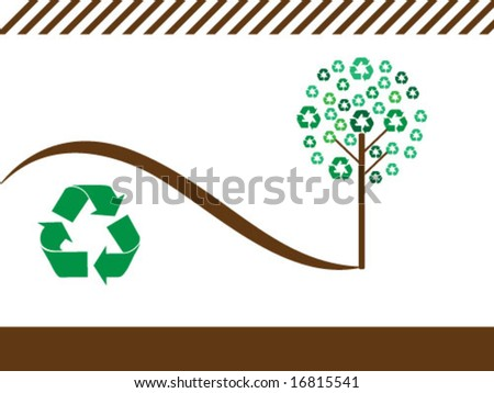 trees with ecology symbols - stock vector