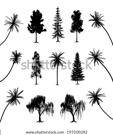 Trees with roots and palms - stock vector