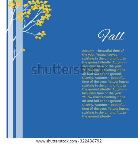 Trees with yellow leaves on a blue background. Autumn in the forest. - stock vector