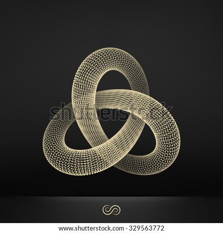 Trefoil Knot. Connection Structure. Vector 3D Illustration.  - stock vector