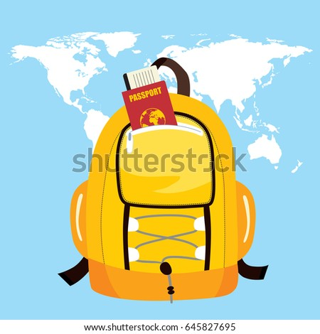 Trekking bag passport world map on stock vector 645827695 shutterstock trekking bag with passport and world map on background travel concept gumiabroncs Images