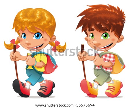 Trekking boy and girl. Funny vector and cartoon isolated characters. - stock vector