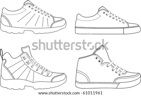 Trekking sports footwear contours - stock vector