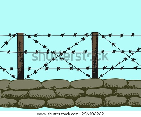 Trenches of world war one sandbags. Doodle style - stock vector
