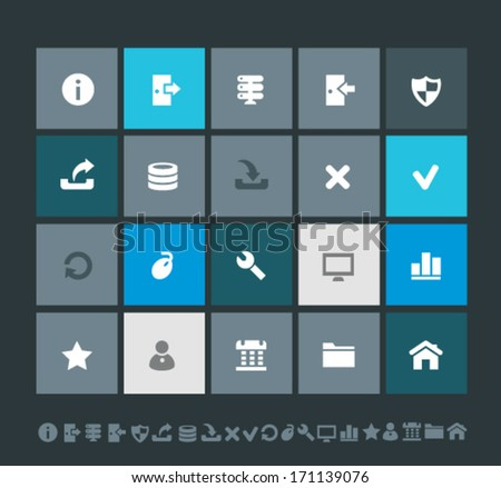 Trend flat design blue server icons with long shadows
