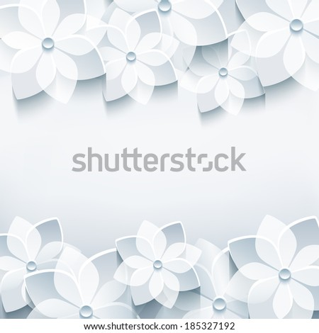 Trendy abstract floral gray background with stylized 3d sakura flower. Stylish modern background. Invitation or greeting card for wedding, birthday, anniversary and life events. Vector illustration - stock vector