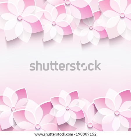 Trendy abstract floral pink background with stylized 3d sakura flower. Stylish modern background. Invitation or greeting card for wedding, birthday, anniversary and life events. Vector illustration