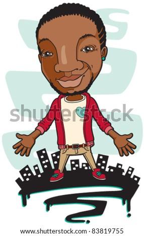 Trendy African man standing over city skyline - stock vector