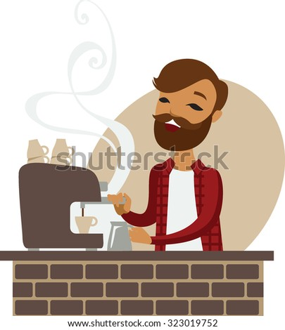 Trendy barista making coffee in coffeeshop - stock vector