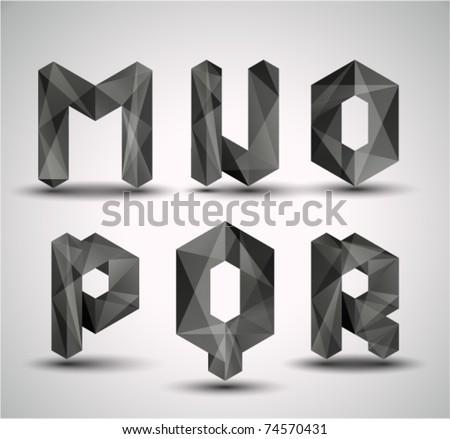 Trendy Black Fractal Geometric Alphabet. MNOPQR, Vector Illustration. - stock vector
