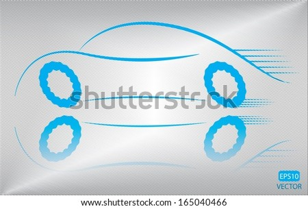 Trendy blue car outline vector design. Isolated easy to edit blue vehicle vector. - stock vector