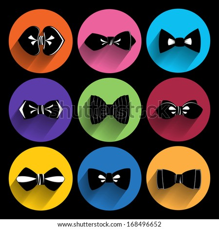 Trendy  bow tie  Icons With Long Shadow. - stock vector