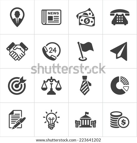 Trendy business and economics icons on white set 1. Vector illustration - stock vector