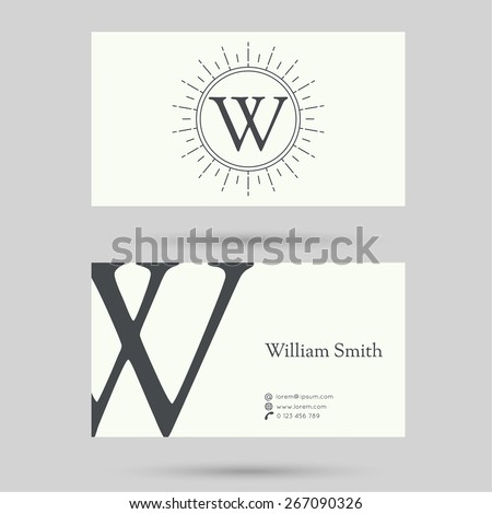 Trendy business card template with vintage hipster banners, insignias, radial sunbusrt. Flat design. minimalism, outline. Logo or corporate identity. letter w - stock vector