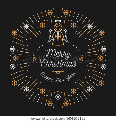 merry christmas and happy new year religious. trendy card merry christmas and happy new year minimal design art deco angel religious i