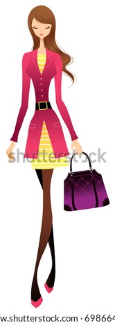 trendy city woman - stock vector