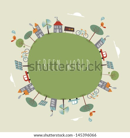 Trendy colorful go green world. Vector illustration layered for easy manipulation and custom coloring. - stock vector