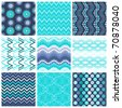 Trendy Colorful Seamless Patterns,collection - stock vector