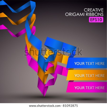 Trendy Colors Origami Ribbons. EPS10. - stock vector