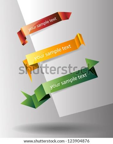 Trendy Colors Origami Tags - stock vector