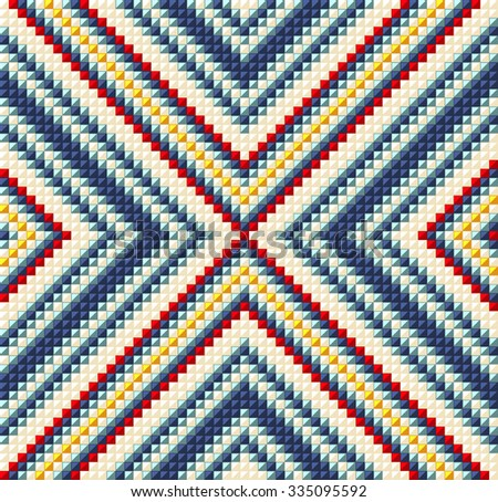 Trendy, contemporary ethnic seamless pattern, embroidery cross, squares, diamonds, stripe.